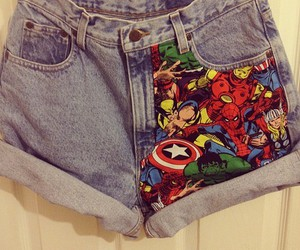 shorts, Marvel, and jeans image