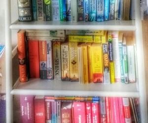 books, bookshelf, and colours image