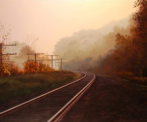 autumn, railway, and wallpapers image