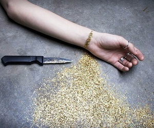 glitter, knife, and gold image