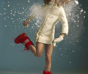boots, red, and snow image