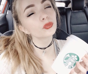 aesthetic, coffee, and red lip image