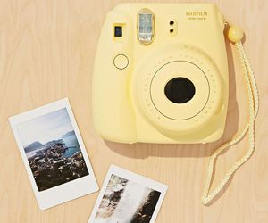 yellow, camera, and polaroid image
