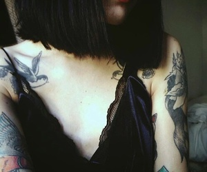 black hair, red lips, and style image