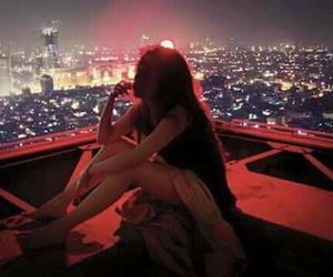 girl, city, and light image