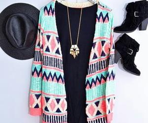 black, cardigan, and fashion image