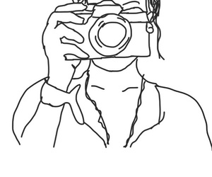 black and white, outline, and girl with camera image