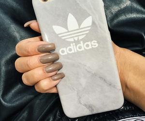 adidas, nails, and iphone image