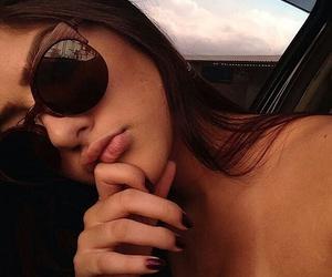 girl, brunette, and sunglasses image