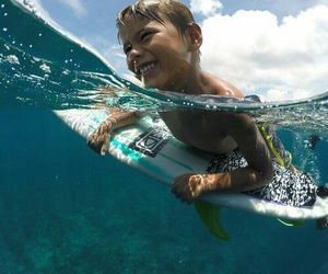 child, summer, and surf image