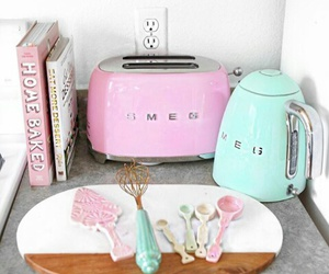 kitchen, pastel, and pink image