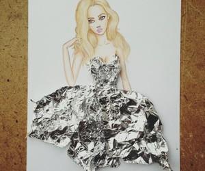 moda, vestido, and platiado image