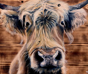 art, cow, and fur image