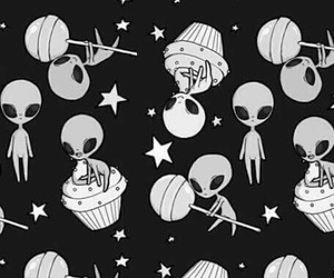 alien, background, and black and white image