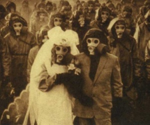 wedding, gas mask, and creepy image