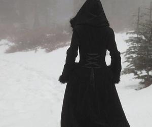 black, snow, and dark image