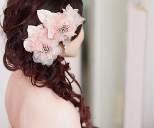flowers, hair, and pink image