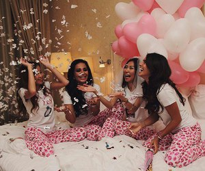 girl, sleepover, and friends image
