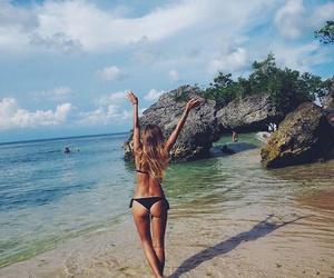 beach, bikini, and hairstyle image