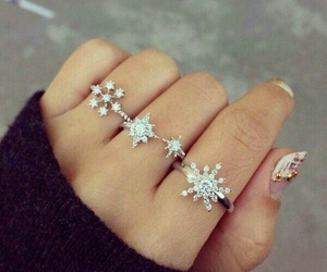 girl, snow flake, and rings image