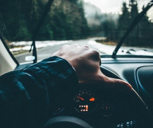 driving, woods, and guy image