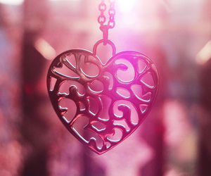 pendant, pink, and heart image