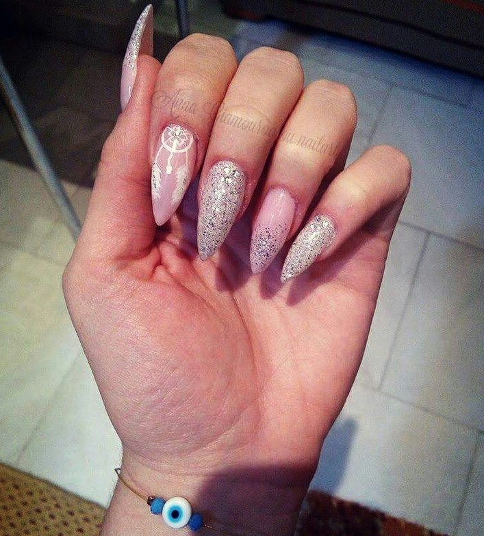Nails Stiletto Light Pink White Silver Glitter Dreamcatcher Str Swarovski