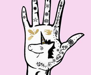 unicorn, hand, and moon image