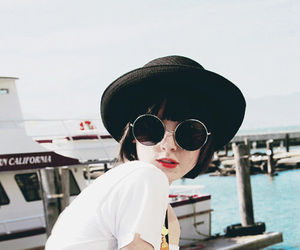beach, sunglasses, and black hat image