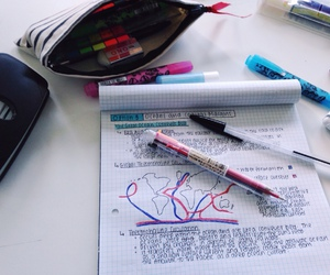 book, desk, and exams image