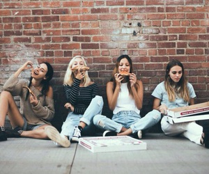 friends, girl, and pizza image
