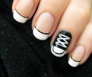 black and white, nail, and convers nails image