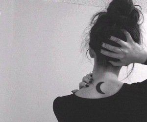 tattoo, moon, and black and white image