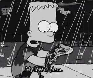 pizza, simpsons, and bart image