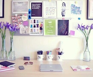 room, desk, and flowers image