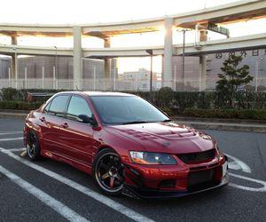 cars, red, and mitsubishi image