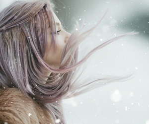 cold, hair, and snow image