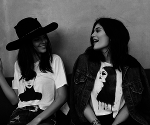 black and white, kendall jenner, and kylie jenner image