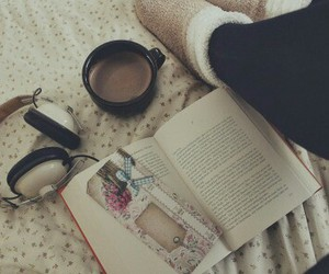 books, coffee, and headphones image