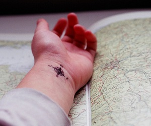 tattoo, hand, and map image