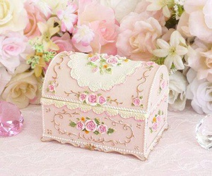pink, box, and flowers image