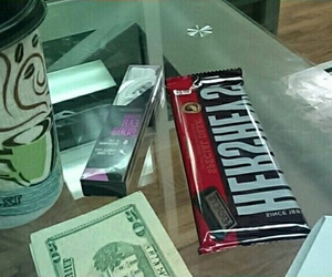 chocolate, earphones, and money image