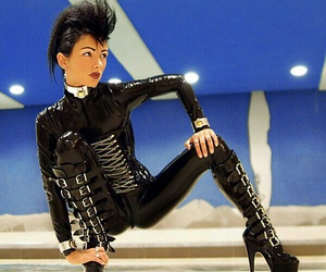 girls, latex, and latex catsuit image