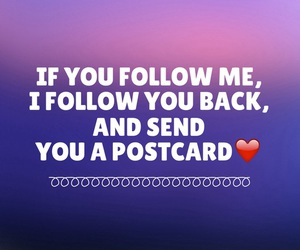 follow, postcard, and easel image