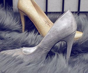 gold pumps, gold high heels, and silver high heels image