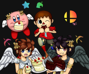 cake, pit, and super smash brothers image