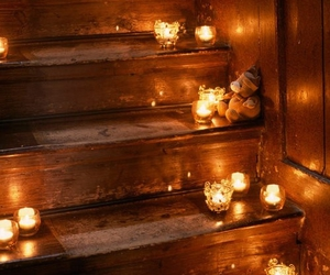 light, candle, and stairs image