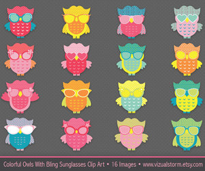 cute owls, etsy, and colorful owls image