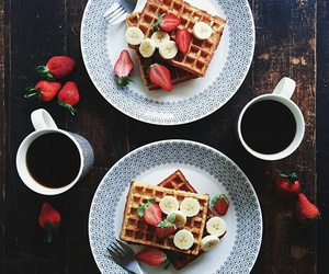 food, coffee, and strawberries image