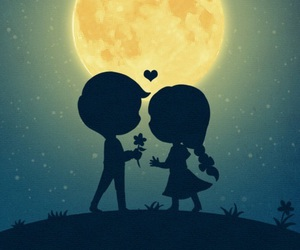 love, moon, and couple image